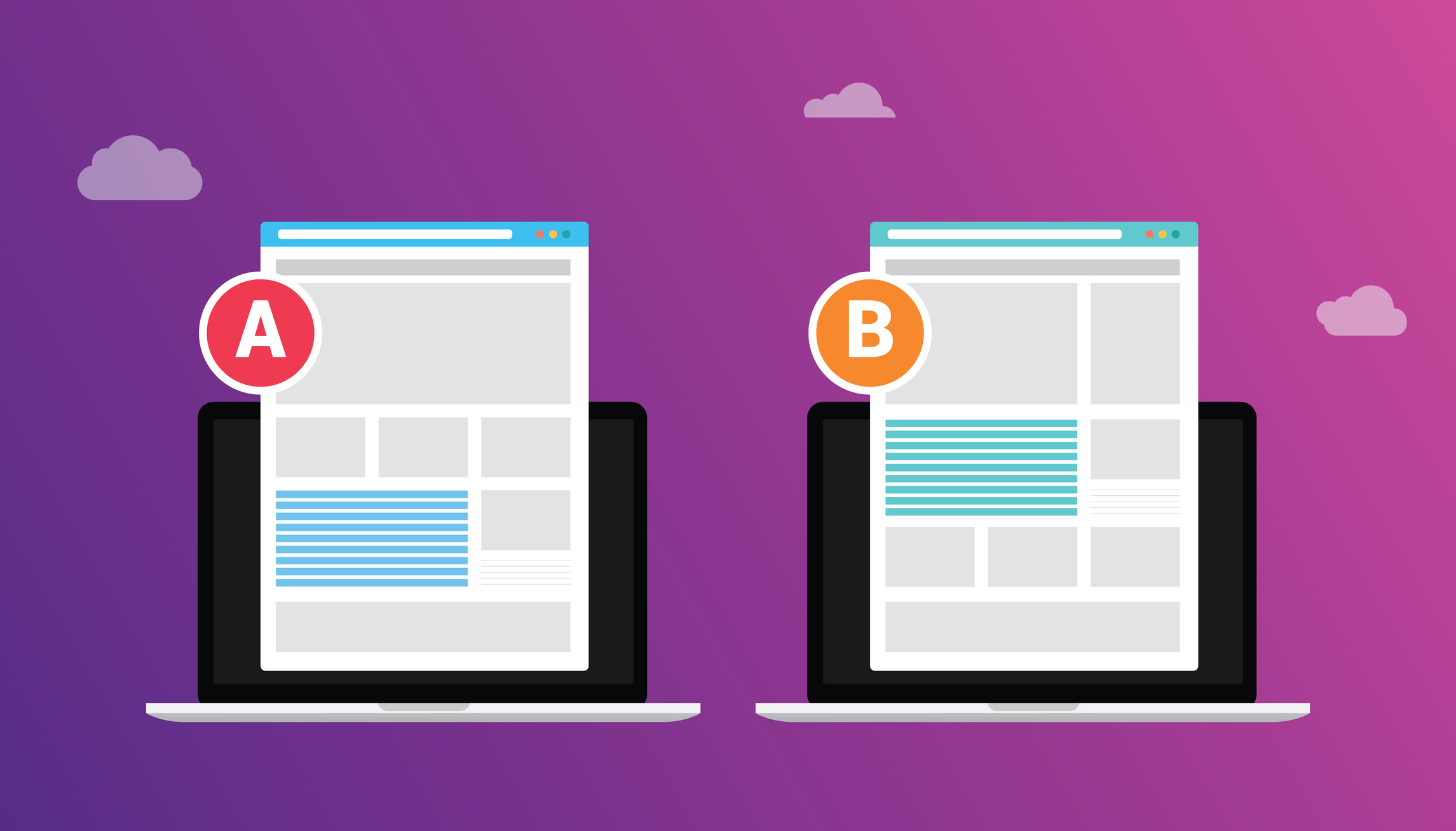a/b split testing concept between 2 pages of website design comparison